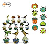 Dinosaur Party Supplies Cupcake Toppers Wrappers 24 Pack and Dino Favor Paper Masks 24 Pack Birthday Accessories for Kids Boys Girls Jurassic World Party