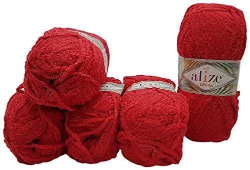 Softy Plus 5 x 100 Gramm Alize Strickwolle, Babywolle, 500 Gramm Wolle mit leichtem Plüsch (rot 56)