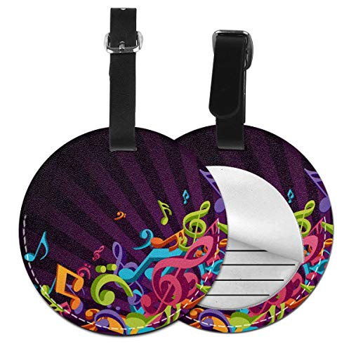 Colorido Music - Juego de etiquetas para maleta de piel, accesorios de viaje, etiquetas redondas para equipaje Negro Negro 2 PC