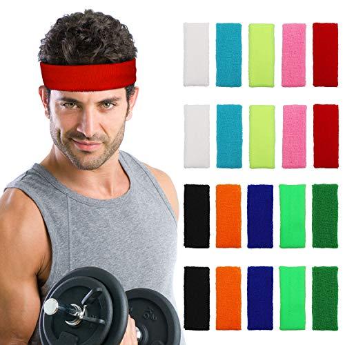 Kurtzy Stirnband (20 Stück) - 13cm Elastische Dehnbare Stirnbänder für Herren, Damen und Kinder - Schweißbändern zum Fahrrad Fahren, Gymnastik, Yoga, Sport und Athletik - Farbe Schweissband