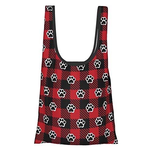 Bolsas de comestibles reutilizables plegables bolsas de compras Eco amistosas bolsas de tela resistentes al agua ligeras de perro fuerte patas de búfalo a cuadros ⭐