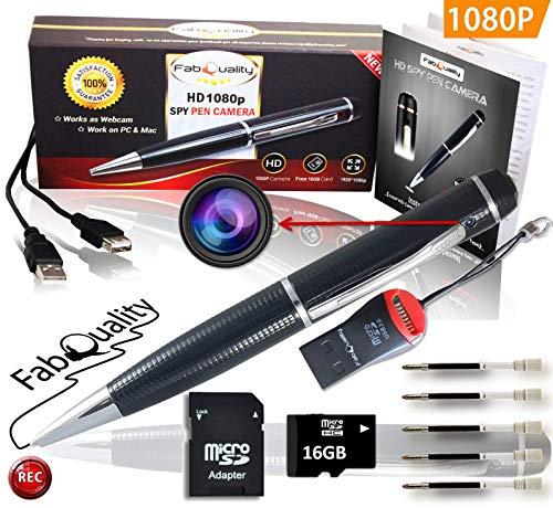 Espía pluma cámara, FabQuality oficial 1080p cámara oculta sin parpadear luces profesional sigilo oculto cámara Ejecutivo Pen Incluye tarjeta SD de 16 gb, lector, 5 tintas + lector