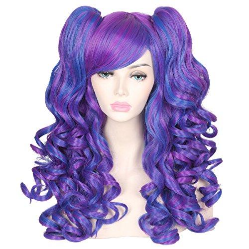 ColorGround Long Curly Cosplay Wig with 2 Ponytails(Dark Blue/Dark Purple)