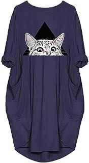 Women Plus Size Cat Cartoon Print casual dress,Lady Fashion Long Sleeve O-Neck Pocket Dress