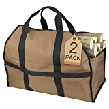 Petutu Firewood Carrier 2 Pack, Large Canvas Log Carriers Tote,...