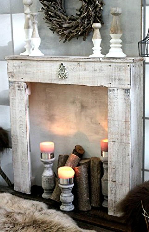 Kaminkonsole Dekokamin Kaminsims aus Holz in antik wei fertig montiert
