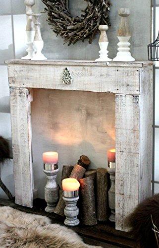 Kaminkonsole Dekokamin Kaminsims aus Holz | fertig montiert (Antik Weiß (Modell 1))