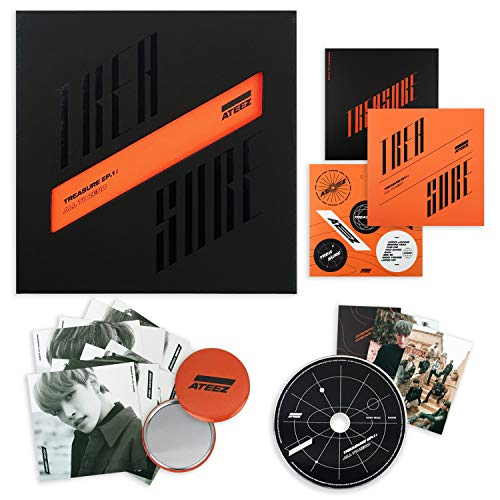 ATEEZ First Album - Treasure EP.1 : All to Zero CD + Sticker + on Pack Poster + Postcards + Photocards + FREE GIFT / K-POP Sealed