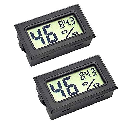 ICQUANZX湿度計測定、ミニLCDデジタルモニター、屋外温度、ヒュミドール、温室と地下室、セルキャビネット用湿度計、華氏(°F)で測定(2パック)