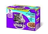 Whiskas Selección Multipack Bolsitas de Comida Húmeda para Gatos Adultos Selección Pescados (12 bolsitas x 100g)