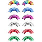 Frcolor Halloween Lashes 6 Pairs Long Thick Colorful Tinsel Eyelashes Rainbow Falsies for Halloween Party Circus Dance Dress Costumes