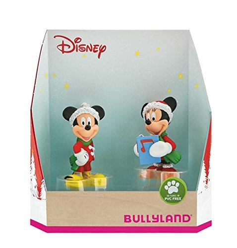 Bullyland 15074 - Spielfigurenset, Walt Disney Micky und Minnie im Weihnachtskostüm, liebevoll handbemalte Figuren, PVC-frei, tolles Geschenk für Jungen und Mädchen zum fantasievollen Spielen