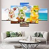 LWJPD Cuadro en Lienzo 5 Partes Decoración del Hogar Impresión De Imagen Pintura Mural Fruta Bebida Lienzo Moderno Sala De Estar HD Cartel Modular Sin Marco 60 Inch