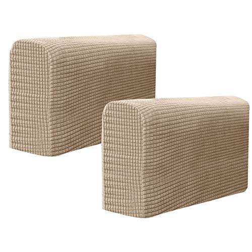 BESPORTBLE Stuhl-Armschoner, Sofa-Armlehnen-Bezug, Stretch-Sessel, Schonbezug, elastisch, für Zuhause, Büro, Liegestuhl, Couch, Loveseat, Schutztuch, 2 Stück (hellbraun)