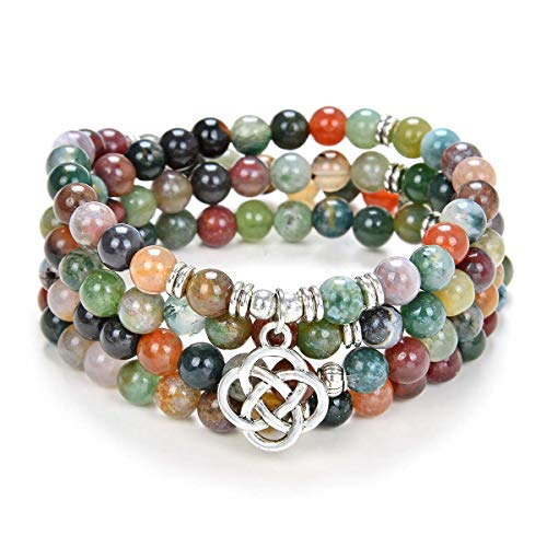 oasymala 108 Mala Meditation Beads Yoga Bracelet or Necklace with Celtic Knot Charm (Indian Agate)
