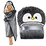 Penguin Wearable Hooded Blanket for Adults – Fuzzy Super Soft Warm Cozy Plush Flannel Fleece & Sherpa Hoodie Throw Cloak Wrap - Penguin Gifts for Women Adults Girls and Kids