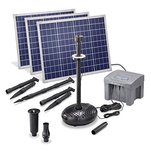 Solar Teichpumpe Professional mit 12V/24Ah Akkuspeicher und LED Beleuchtung - 3 x 50 Watt Solarmodul - 4.000 l/h Förderleistung - 1,5 m Förderhöhe - Springbrunnen Gartenteich Pumpe esotec 101930