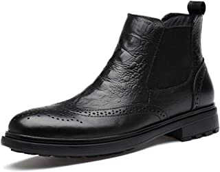 PengCheng Pang Winter Ankle Boot for Men Chelsea Boot Genuine Leather Round Toe Embossed Brogue Carving (Lace up & Fleece Lined Option) (Color : Black(Fleece Inside), Size : 9.5 UK)