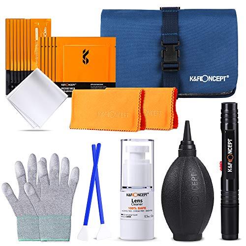 K&F Concept Kit di Pulizia per Fotocamera,con Tamponi Panno in Fibra Liquido di Pulizia Soffiatore d Aria Penna per Lenti Guanti Antistatici Borsa per Trasporto,adatto Full Frame ed APS-C
