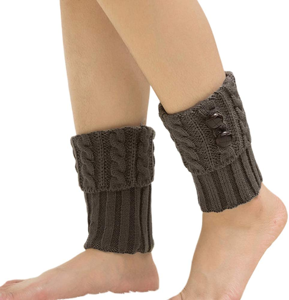 preliked Women Winter Button Twisted Knitted Leg Warmers Socks Short Boot Topper Cuffs for Knitted Fall Winter Sports Socks Light Gray
