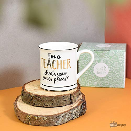 Tasse Kaffeetasse Teetasse I'm a Teacher What's Your Super Power? Gold weiß Schwarz