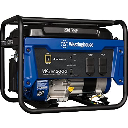 Westinghouse Outdoor Power Equipment WGen2000 Portable Generator 2000 Rated 2500 Peak Watts, Gas Powered, CARB Compliant