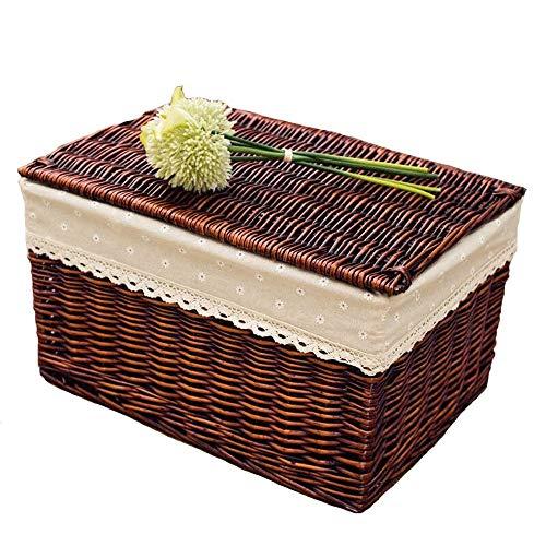 JISHIYU Cesta rectangular grande de mimbre de mimbre para la colada con forro, cesta de almacenamiento de mimbre, para dormitorio, hogar, cocina, cesta de colección (tamaño: 60 x 40 x 40 cm)