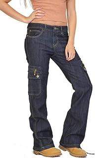 Yeirui Women Low-Rise Casual Denim Denim Pants Multi Pockets Cargo Pants Trousers
