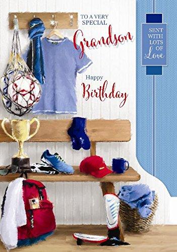 Speciale kleinzoon sport trofee voetbal shirt pads ontwerp grote gelukkige verjaardagskaart