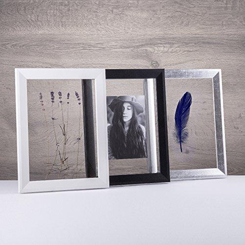 Doppelglas - Doppelverglasung Rahmen Doppelglasrahmen Bilderrahmen mit Acrylglas ohne Rückwand schmal und modern in 21x29,7cm (DIN A4) Weiß (matt)