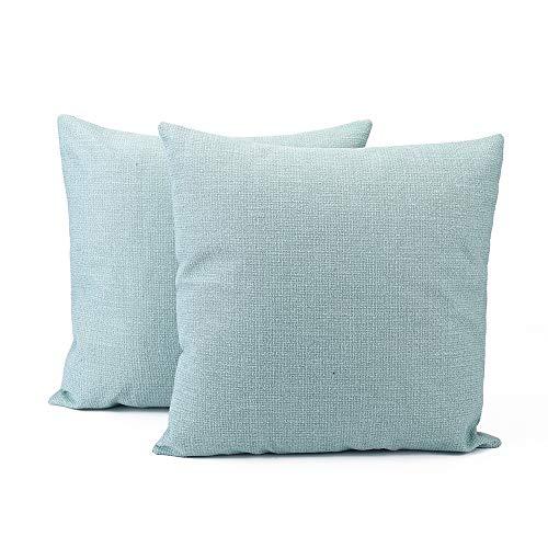 Generic 2 fundas de cojín de lino de algodón para decoración de casas de granja, 45 x 45 cm, color verde menta