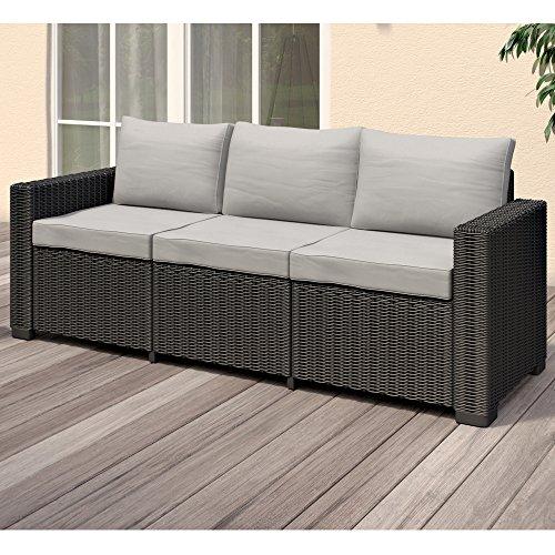 Allibert California 3-Sitzer Couch Polyrattan Gartenmöbel Lounge Rattanoptik - 2