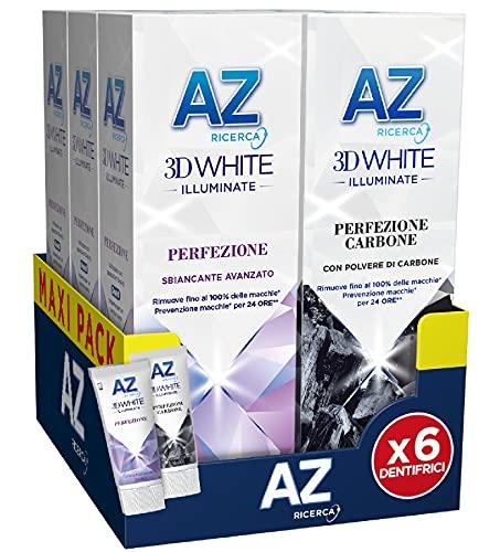 AZ 3 Dentifrici 3DWhite Illuminate Perfezione + 3 Dentifrici 3DWhite Illuminate Perfezione Carbone. 6x 50 ml