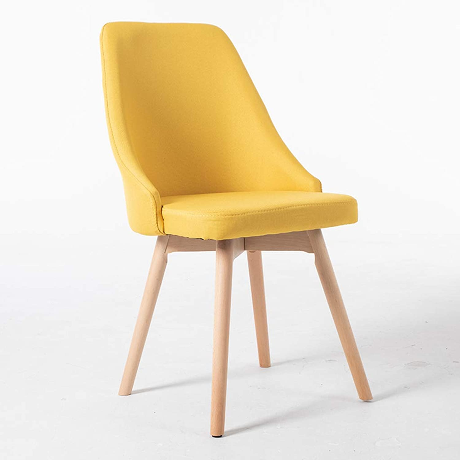 Solid Wood Dining Chair Cloth Makeup Stool Backrest Desk Chair Household Bedroom Dressing Chair Cafe Lounge Chair Multifunction Environmental Predection Armchair,Yellow