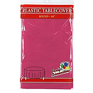 """Hot Pink Round Plastic Tablecloth - 4 Pack - Premium Quality Disposable Party Table Covers for Parties and Events - 84"""" - By Party Dimensions (B072HHSM6T) 