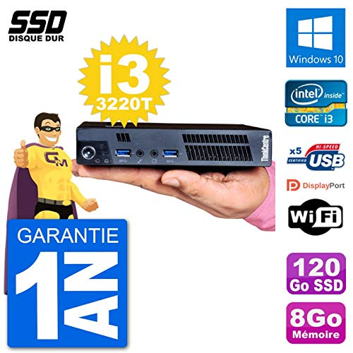Lenovo Ultra Mini PC M92p USFF Tiny Intel I3-3220T 8 GB 120 GB SSD WiFi Windows 10 (Reacondicionado)