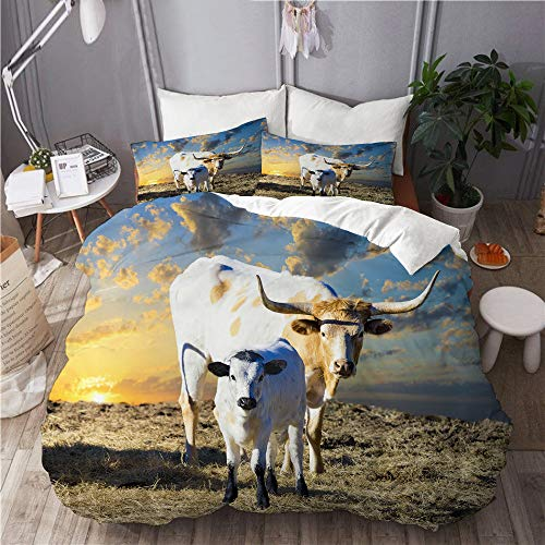 BEITUOLA bedding - Duvet Cover Set,Female Longhorn cow grazing in a Texas pasture her young calf,Microfibre Duvet Cover Set 135 X 200cm with 2 Pillowcase 50 X 75cm