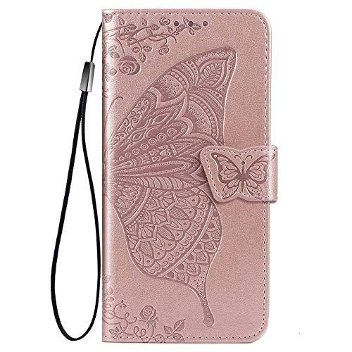 HAOTIAN Hülle für Xiaomi Poco X3 NFC/Poco X3 Pro Hülle, Schmetterling Geprägtem PU Leder Magnetische Filp Handyhülle mit Kartensteckplätzen/Standfunktion, Anti-Rutsch Schutzhülle. Rosé Gold