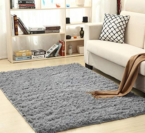 alfombras Salon Grandes - Pelo Largo Alfombra habitación Dormitorio Lavables Comedor Moderna vivero (Gris, 120 x 160 cm)