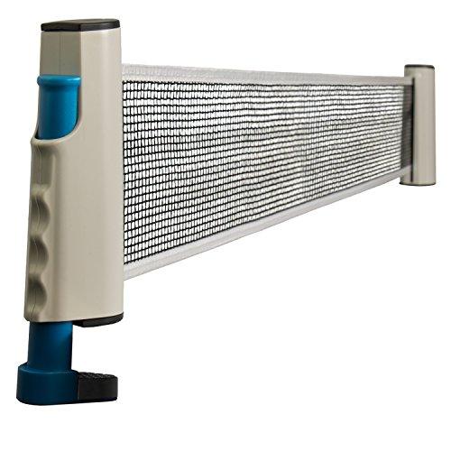 Grinscard Tischtennisnetz für Tennisplatten und Tische - Bis 160 cm Ausziehbar - Ping Pong Netz Indoor und Outdoor