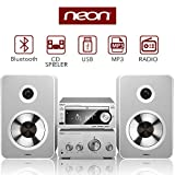 Neon Micro Hifi Kompaktsystem - HIFI CD Player Bluetooth Lautsprecher Party Feiertag Music Spieler Streaming via Bluetooth mit FM/Radio, für MP3/WMA, USB Weihnachten Geschenk