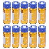 Scicalife 100 Unidades de Frasco de Muestra de Vidrio Transparente Botella de Muestra Líquida 2Ml Viales de Vidrio con Escala Botellas de Muestra Graduadas con Tapón de Rosca para Poción de