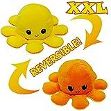 KUNSTIFY Peluche taille XXL en forme de pieuvre - Pour fille, pour enfant - Cadeau idéal pour une petite amie - 40 cm - Jaune/Orange