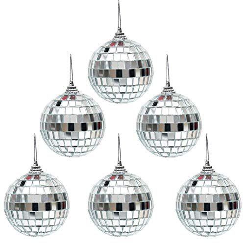 6 pcs 2.4 Inch Christmas Ball Mirror Party Disco Ball Xmas Tree Ornament Decoration with Cosmos Fastening Strap