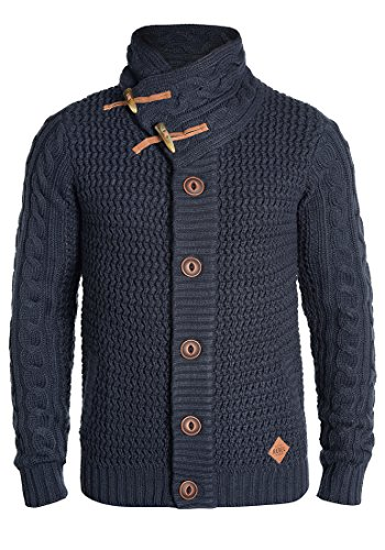 Redefined Rebel Mitchell Herren Strickjacke Cardigan Grobstrick Winter Pullover, Größe:XL, Farbe:Navy