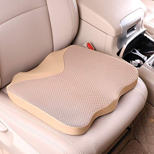 KINGLETING Car Seat Cushion, Driver Seat Cushion for Height, Universal Fit for Most for Auto SUV Truck,Provides Good Driving Visibility (Beige)
