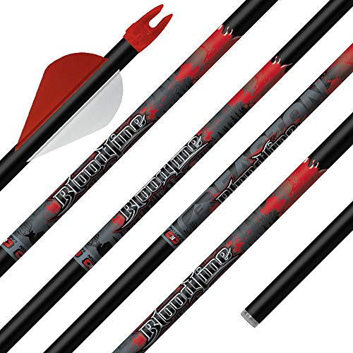 """Easton Bloodline Arrow 330 Cut to 30"""" with Inserts Installed, 6 Pack, Black"""