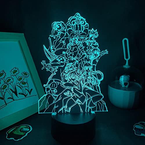 Lámpara De Ilusión 3D Luz De Noche LED Los siete pecados Figura Capital Grupo de anime RGB Color de la píldora Lavandería Dormitorio Decoración de escritorio