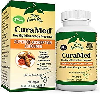 Terry Naturally CuraMed 375 mg - 120 Softgels - Superior Absorption BCM-95 Curcumin Supplement Promotes Healthy Inflammation Response - Non-GMO Gluten-Free Halal - 120 Servings