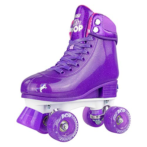 Crazy Skates Adjustable Roller Skates for Girls and Boys - Glitter Pop Collection - Size Adjustable to fit Four Sizes - Purple (Size: Small | US Mens j12-2 | US Ladies j12-2 | EU 31-34)